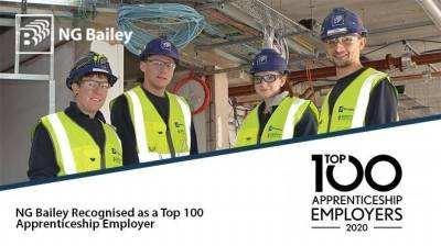 NG Bailey Recognised as a Top 100 Apprenticeship Employer