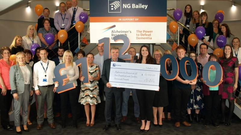 NG Bailey celebrates raising £112,000 for Alzheimer's Research UK